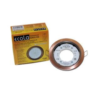 Светильник Ecola GX53 H4 Downlight плоский Черная медь