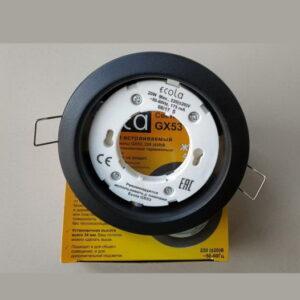 Светильник Ecola GX53 H4 Downlight плоский Черный матовый